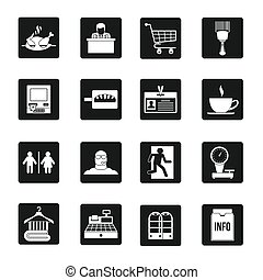 Supermarket navigation icons set, simple style - Supermarket...