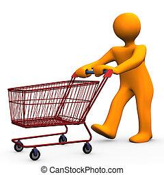 Orange cartoon character goes shopping.