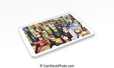 Supermarket products on tablet screen, isolated on white background.