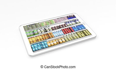 Supermarket refrigerator shelves with products on tablet screen, isolated on white background.