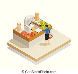 Supermarket Robotic Technology Isometric Composition