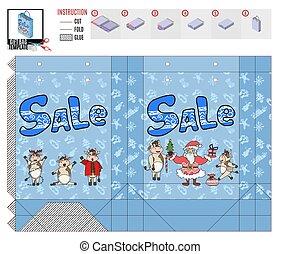 supermarket sale bag for christmas. doodle sketch