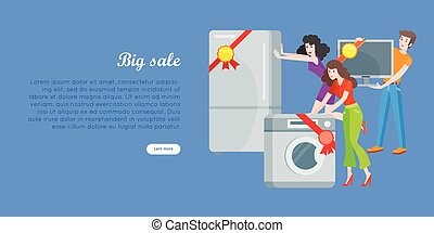 Supermarket Sale Banner. Household Appliances