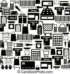 supermarket seamless pattern background icon.
