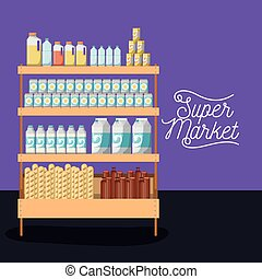 supermarket shelf colorful poster design with foods and beverages
