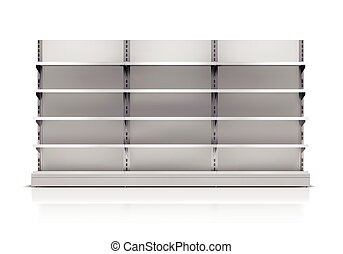 Supermarket Shelf Isolated - Realistic 3d empty supermarket...