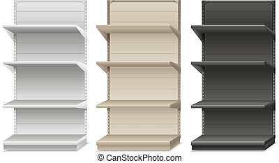 Supermarket shelf. Vector illustration, white & black color