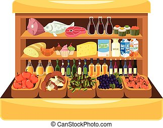 Supermarket shelf with food