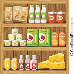 supermarket., shelfs, mit, lebensmittel