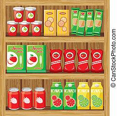 supermarket., shelfs, táplálék.