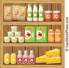 Supermarket. Shelfs with food - Image of a rack of wood with...