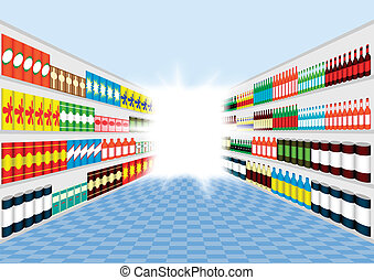 Supermarket shelves corridor with light in the end