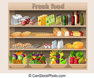 Supermarket shelves food and drinks - Supermarket shelves...