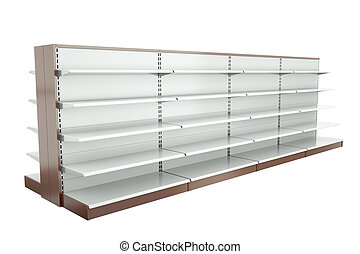 Row of supermarket shelves. 3D render.