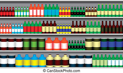 Supermarket shelf with various bottle templates and cans