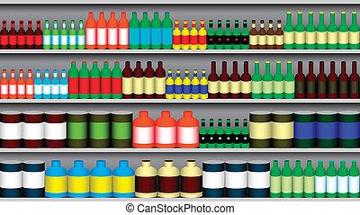 Supermarket shelves - Supermarket shelf with various bottle...
