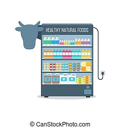 Supermarket shelves with dairy products.