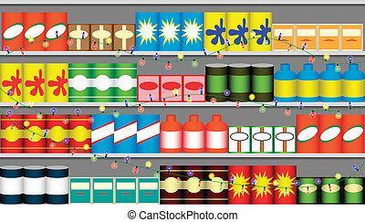 Supermarket shelves with garlands - Supermarket shelves with...