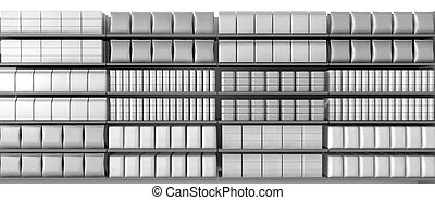 Supermarket Shelves With Generic Products Front - A ...