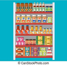 Supermarket shelves with groceries.