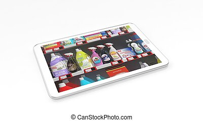 Supermarket shelves with household products on tablet screen, isolated on white background.
