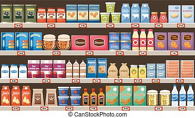 Supermarket, shelves with products and drinks. Vector