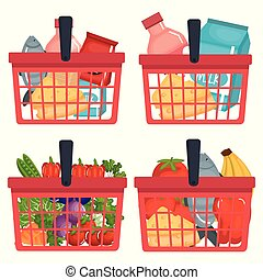 supermarket shopping basket with groceries