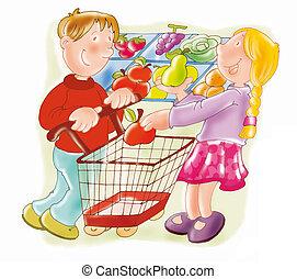 supermarket, shopping cart, fruit, children