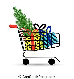 Supermarket shopping cart full of holyday gifts and fir-tree. Vector illustration.