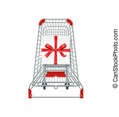 Supermarket shopping cart, gift box whith red ribbon and bow. 3d top view vector illustration. Photo realistic concept for Christmas cards, sale banners