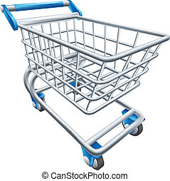 Supermarket shopping cart trolley - An illustration of a ...