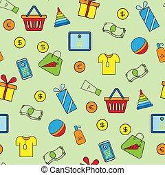 Supermarket shopping icons set seamless pattern background vector illustration.