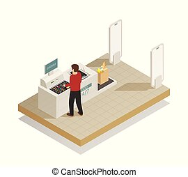Supermarket Shopping Technology Isometric Composition