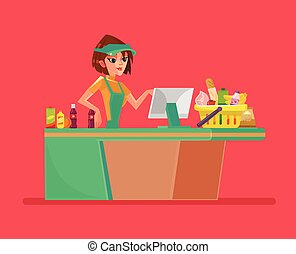 Supermarket smiling cashier woman character. Vector flat cartoon illustration