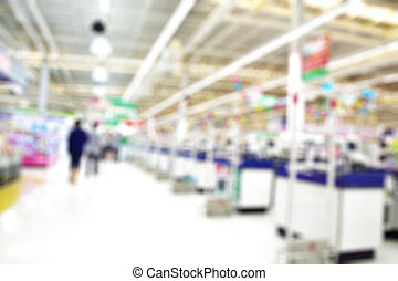 Supermarket store blur background ,Cashier counter with customer
