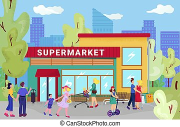 Supermarket store, vector illustration. Flat street with people character near city shop, retail sale at cartoon mall for customer.