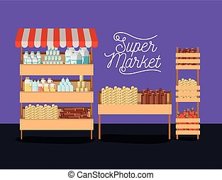 supermarket three shelves colorful poster design with foods and beverages