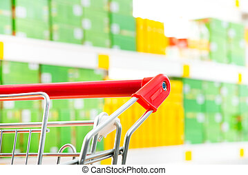 Supermarket trolley at store - Shopping cart detail close-up...