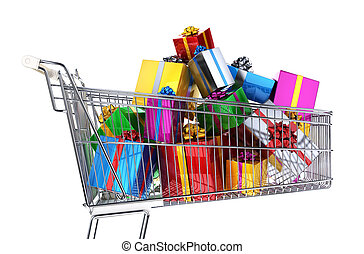 Supermarket trolley full of multicolored gifts.