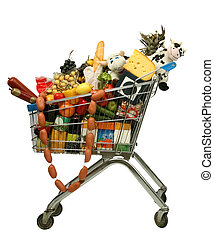 supermarket trolley full of products on a white background
