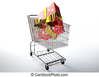 supermarket trolley, with a gift in
