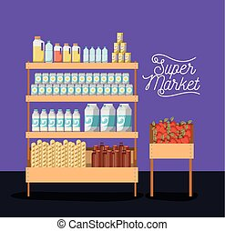 supermarket two shelves colorful poster design with foods and beverages