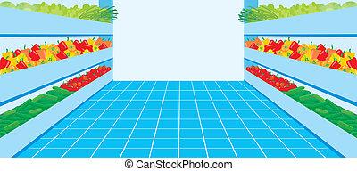supermarket., uno, verdura, numero