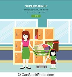 Supermarket Vector Web Banner in Flat Design.