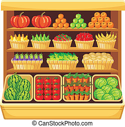 Supermarket. Vegetables and fruits. - Image of shelves in a...