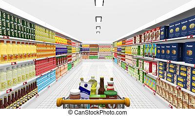 supermarket, vnitřní, a, shopping vozík, s, rozmanitý, produkt