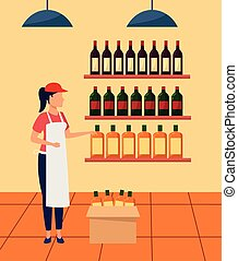 supermarket worker at stand with bottles