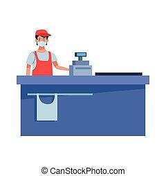 supermarket worker with face mask vector illustration design