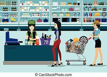 Women spend money shopping in the supermarket.