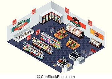 supermarkt, grocery slaan op, isometric, illustratie